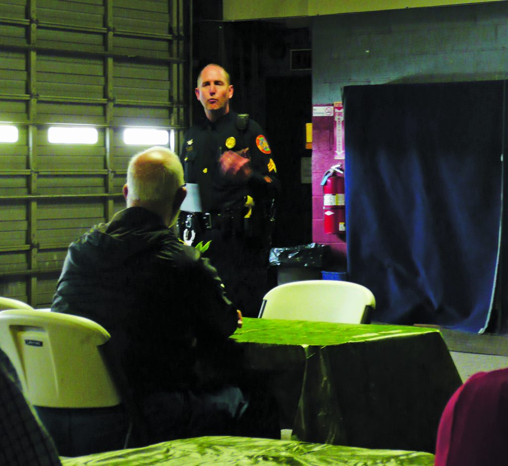 Sergeant Kevin Conrad of the Bethlehem Police Department speaks to Trans-Bridge employees about what to do in an emergency situation.